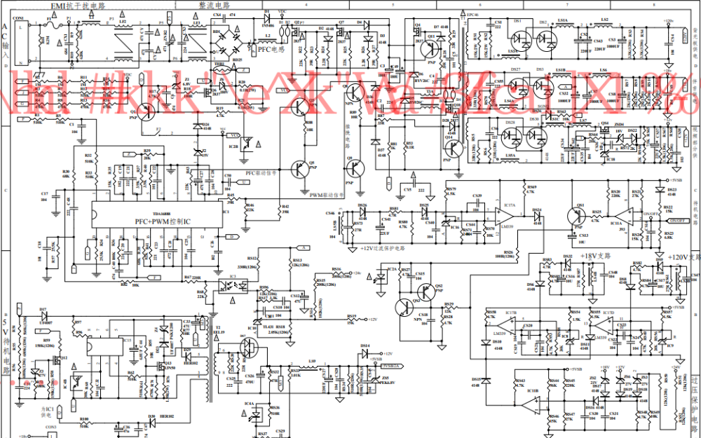 TCL液晶电视的JSK4330-007电源板电路图免费下载