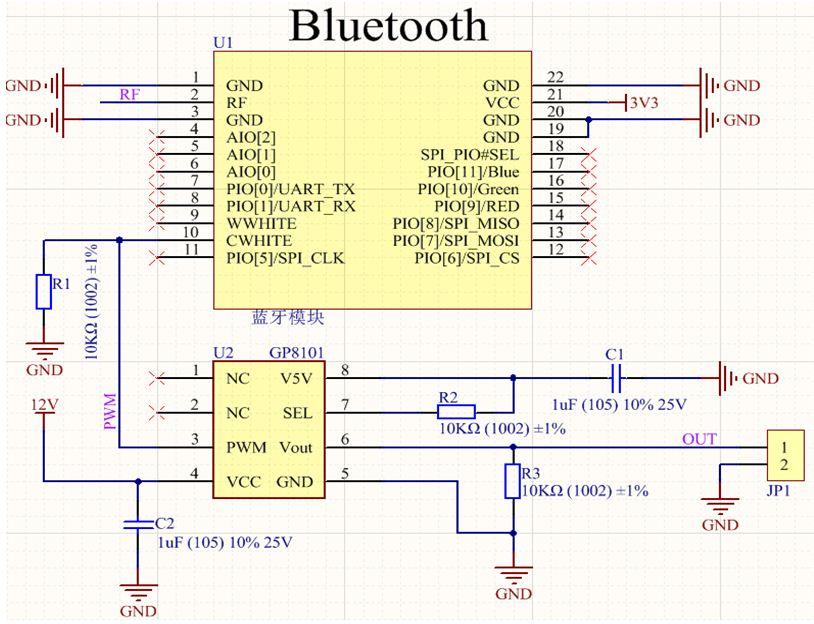 a朱金桥蓝牙模块输出PWM转0-10V调光简介