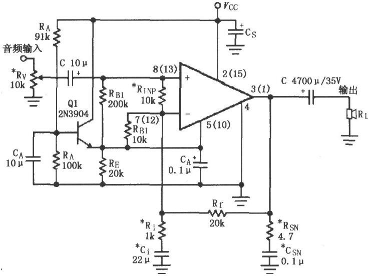 基于LM1876的音频功率放大电路图