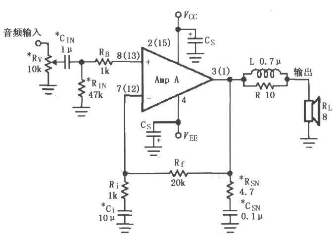 基于LM4730/4731的音频功率放大电路图