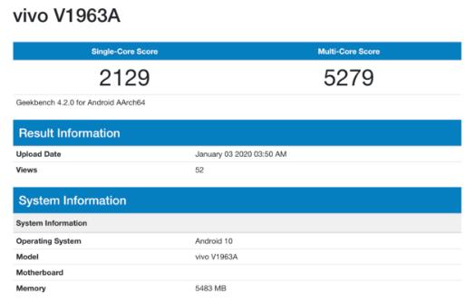 vivo V1963A新机曝光将配备6GB内存并采用了Android 10系统
