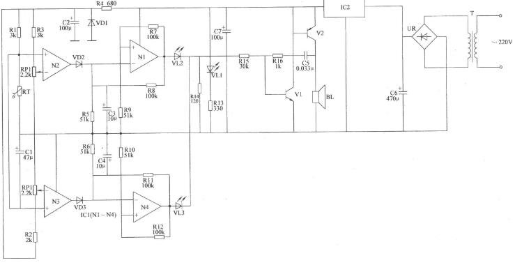两列双限温度报警器电路图分享