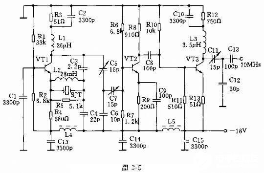 70MHz晶体振荡电路图