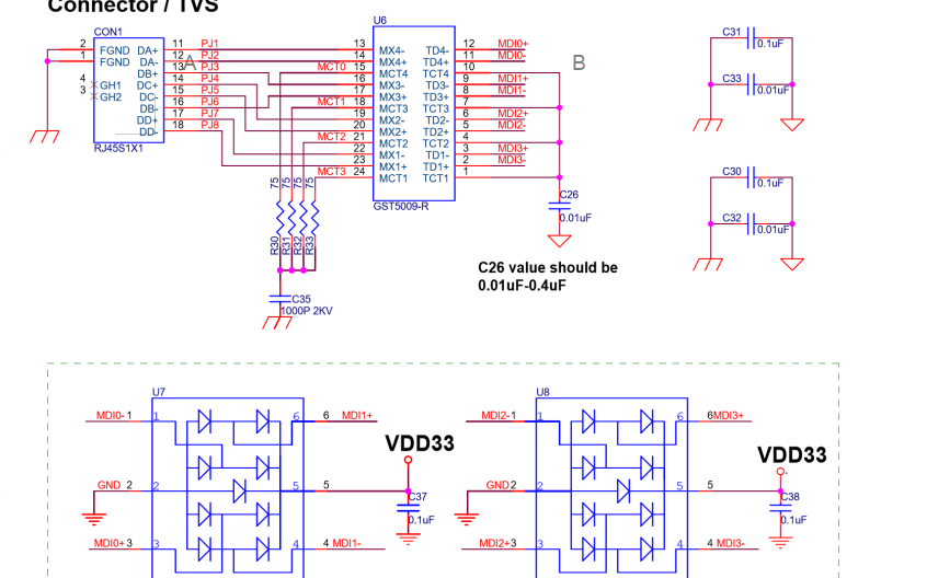 RTL8111E和RTL8105E网卡驱动芯片的电路原理图