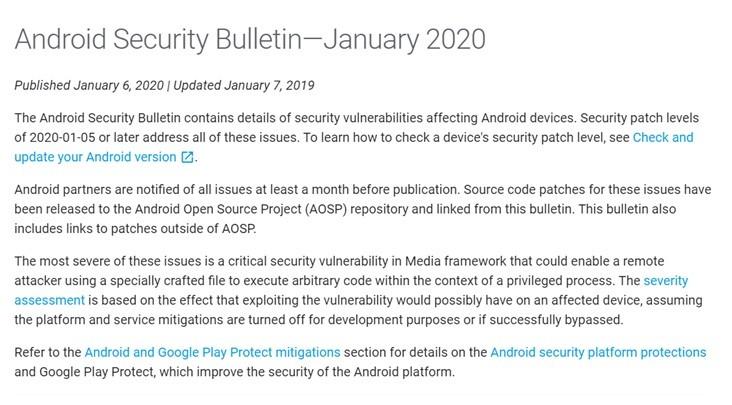 谷歌2020年1月Android安全补丁,修复总共40个安全漏洞