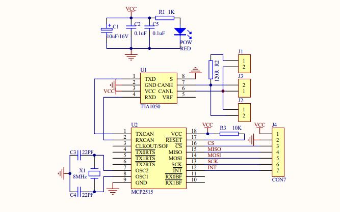 MCP2515 CAN模块的电路原理图免费下载