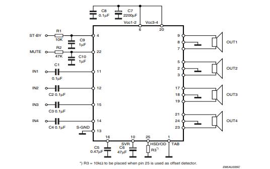 TDA7850 MOSFET四桥功率放大器的数据手册免费下载