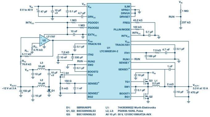 怎样使用LTC3892双输出降压型控制器产生负输出电压