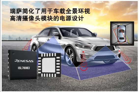 瑞薩電子簡化了用于車載全景環視攝像頭系統的電源設...