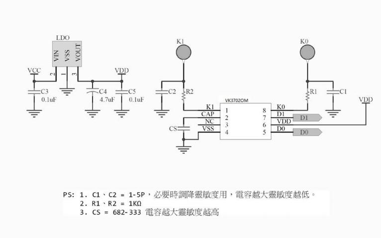VK3702OM电容式触摸按键芯片的数据手册免费下载