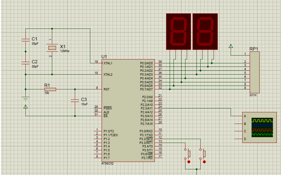 单片机按键控制定时器选播多段音乐的仿真电路图