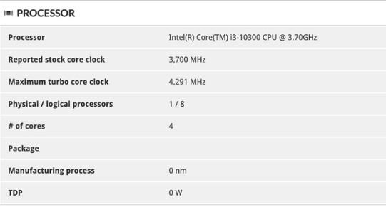 英特尔十代桌面处理器i3-10320现身数据库棋牌游戏送6元,处理器得分为11015