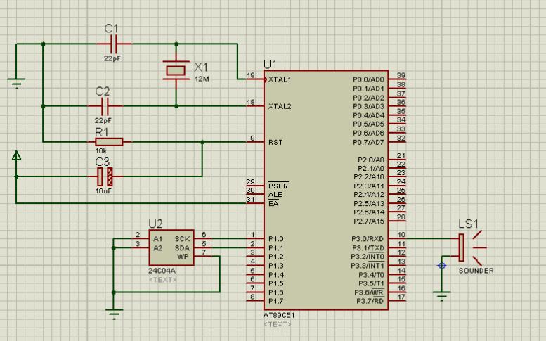 IIC 24C04与蜂鸣器实验的仿真电路图免费下载