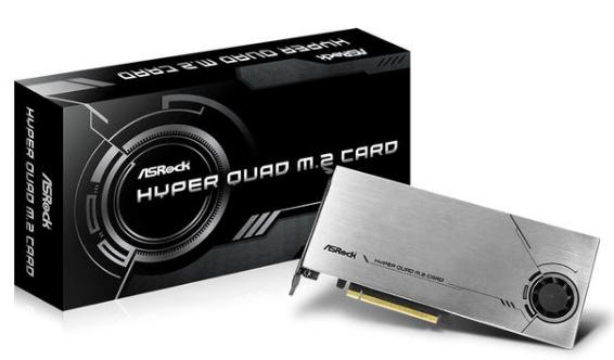 华擎推出HYPER QUAD M.2扩展卡,可将PCI-E 4.0 x16一分四