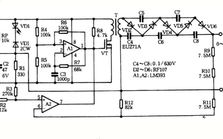 一个使用器件升压的高压稳压电源的电路图说明