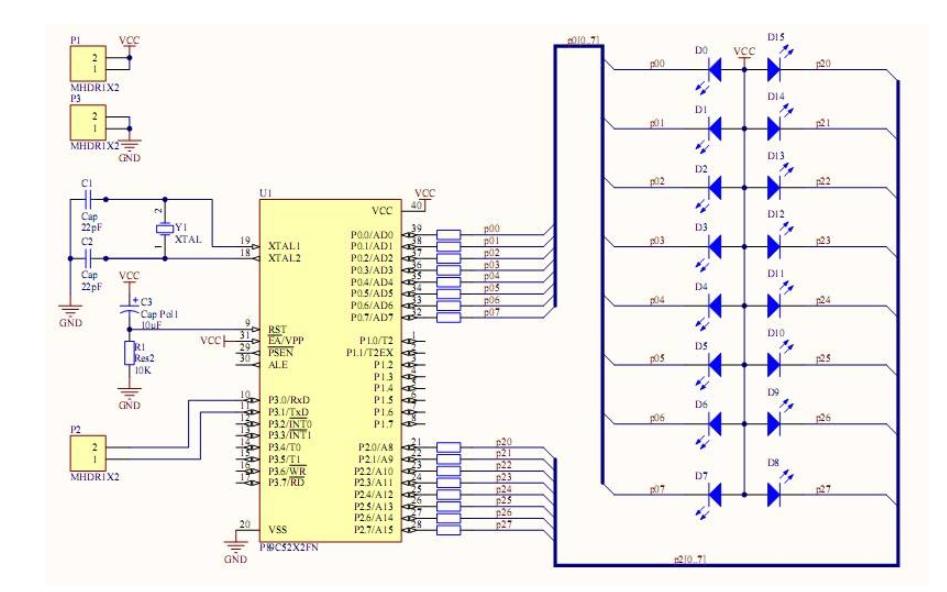 单片机外部INT0中断控制LED的仿真电路图免费下载