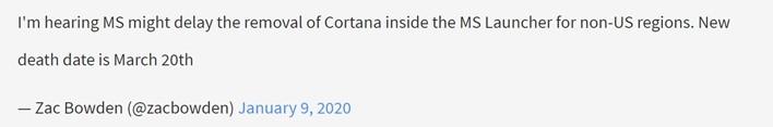 微軟Launcher上Cortana推遲刪除