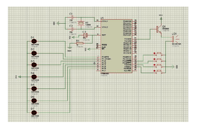 使用单片机按键选播电子音乐的proteus仿真电路图