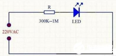 用220V交流电压驱动LED灯珠的简单电路