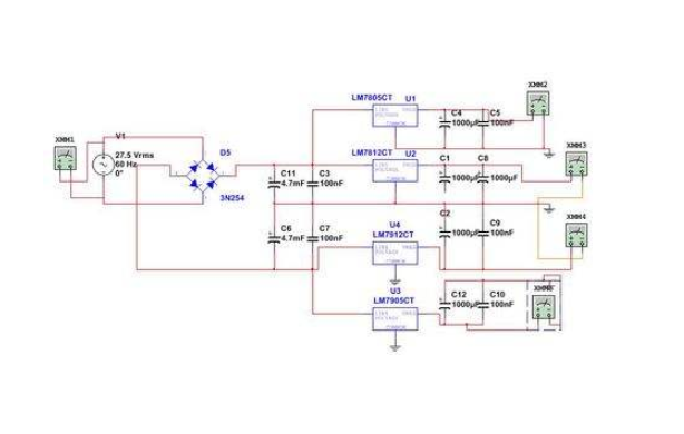 LM7805和LM7905构成的正负直流稳压电路的仿真原理图