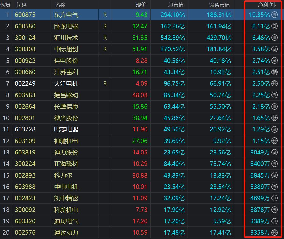 中國滬深A股上市的電機行業企業凈利潤排名前20。(來源:同花順,電子發燒友)