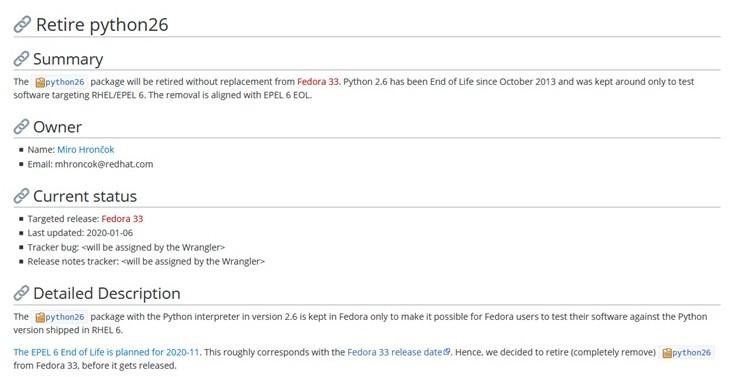 Fedora 33將最早移除Python 2