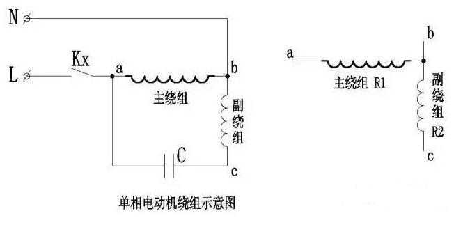 單相電機主繞組、副繞組判斷方法圖解