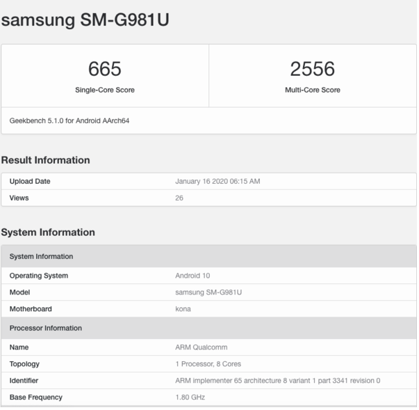 三星Galaxy S20 5G版曝光搭载了骁龙865处理器配备了12GB内存