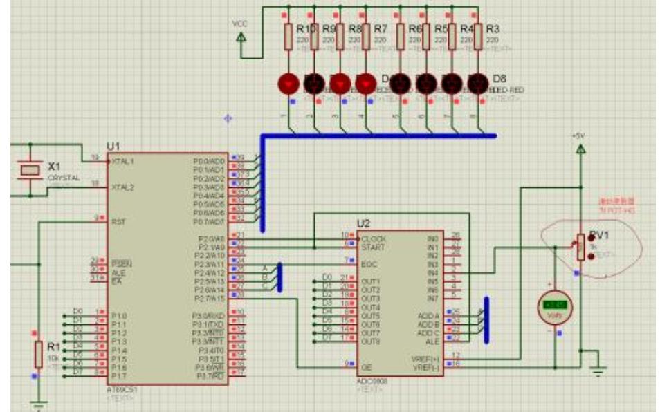 ADC0809模数转换与显示的仿真电路图免费下载
