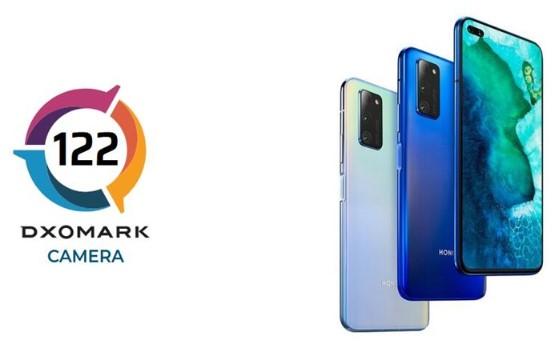 荣耀V30 PRO手机后置拥有双主摄摄像系统,DxOMark总分为122分