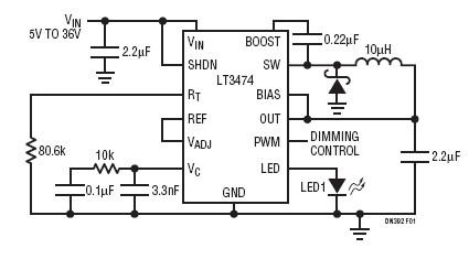 基于一種單信道降壓型的LED驅動器電路設計