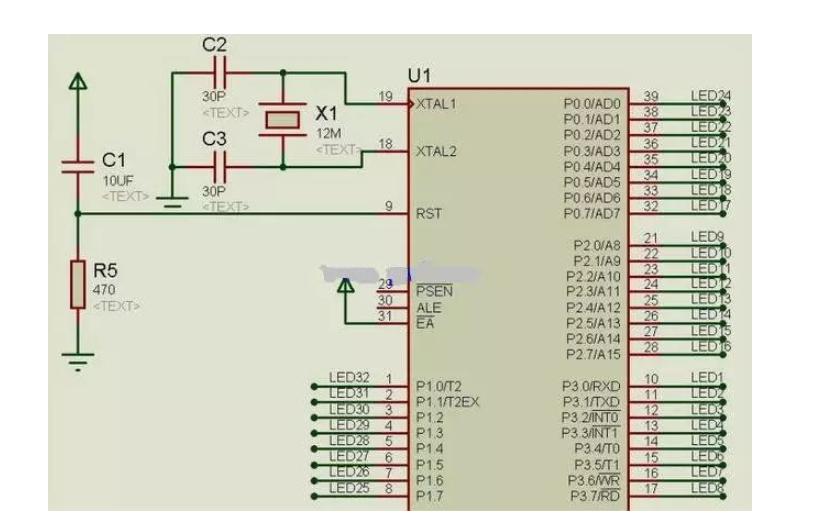 使用TIMER0单片机控制流水灯的仿真电路图免费下载