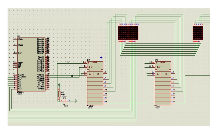 按键控制8X8LED点阵屏显示图形的仿真电路图免费下载
