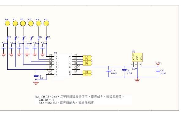 VK3706DM电容式触摸按键芯片的数据手册免费下载