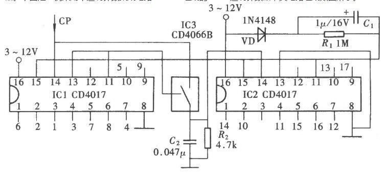 用(yong)CD4017組(zu)成的l~17進制(zhi)計(ji)數器