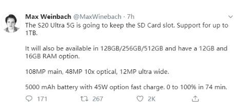 三星Galaxy S20 Ultra 5G将具有...