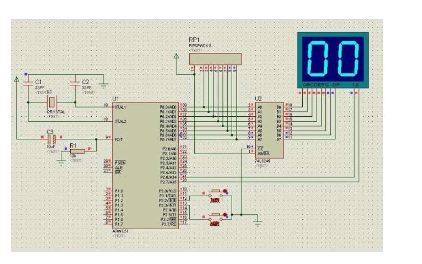 T0控制LED实现二进制计数的仿真电路图