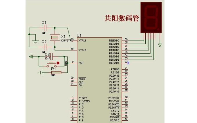 使用单片机控制单只数码管循环显示0到9的电路图免费下载