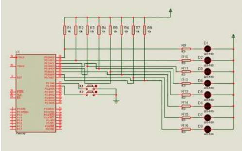 使用K1到K4控制数码管加减演示的仿真电路图