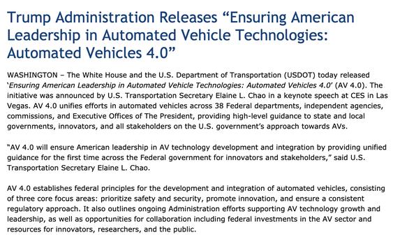 美國交通部正式公布了最新的自動駕駛汽車準則4.0