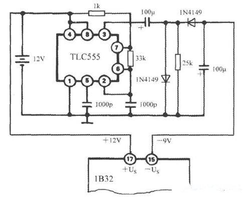 TLC555產生負電源電路圖