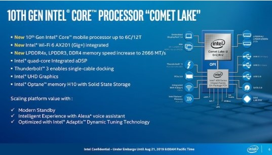 英特尔十代Comet Lake-U系列将支持采用LPDDR4X内存