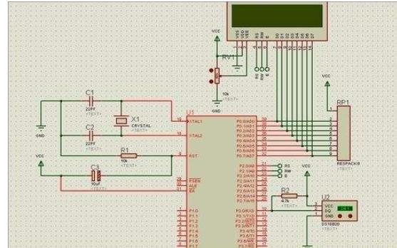 单片机DS18B20温度传感器实验的仿真电路图免费下载