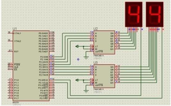 BCD译码数码管显示数字的仿真电路图免费下载