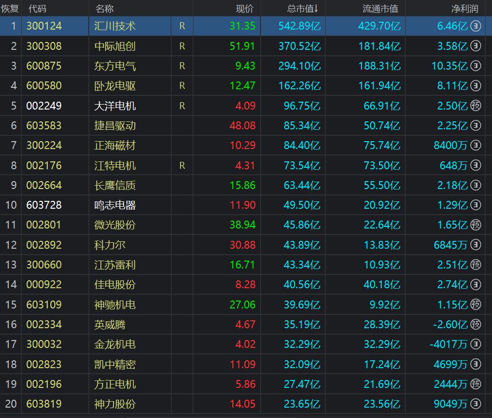 中國滬深A股上市的電機行業企業總市值排名前20。