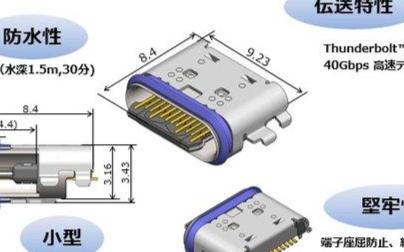 MinebeaMitsumi推出IP68級USB-C雷電3連接器