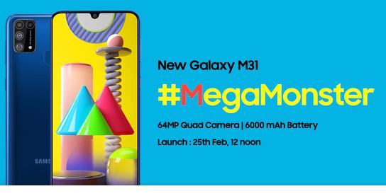 三星Galaxy M31即将发布该机内置了一块6...