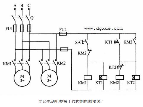 两台三相异步电动机交替工作控制电路接线图
