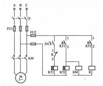 電動機間歇運行控制電路接線圖