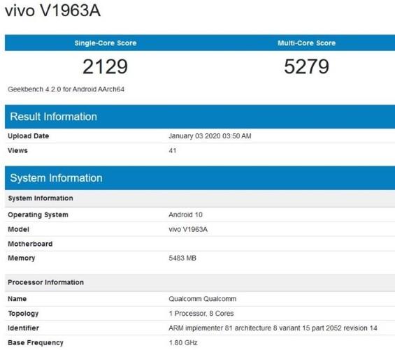 vivo V1963A新机跑分曝光,搭载高通骁龙765(G)处理器